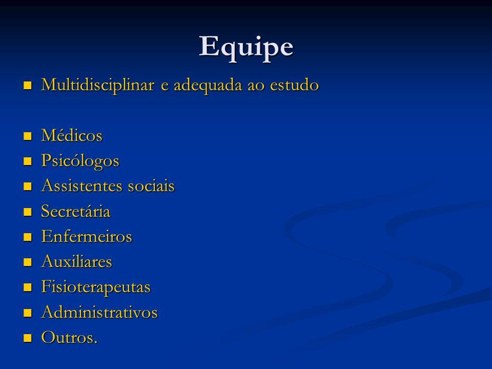 Equipe Multidisciplinar e adequada ao estudo Multidisciplinar e adequada ao estudo Médicos Médicos Psicólogos Psicólogos Assistentes sociais Assistent