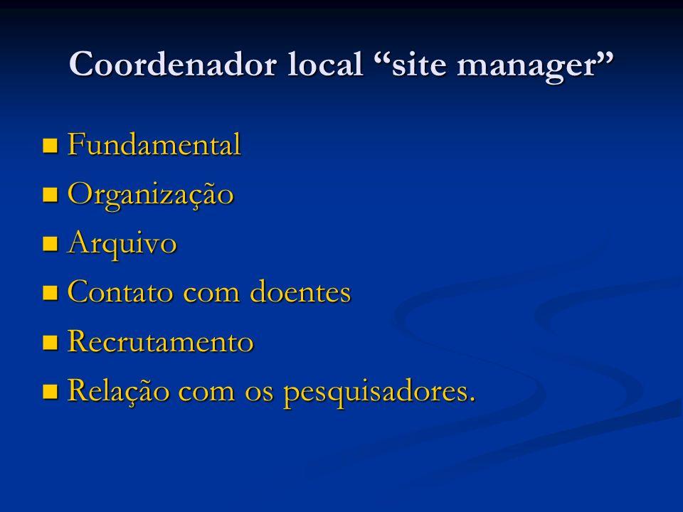 Coordenador local site manager Fundamental Fundamental Organização Organização Arquivo Arquivo Contato com doentes Contato com doentes Recrutamento Re