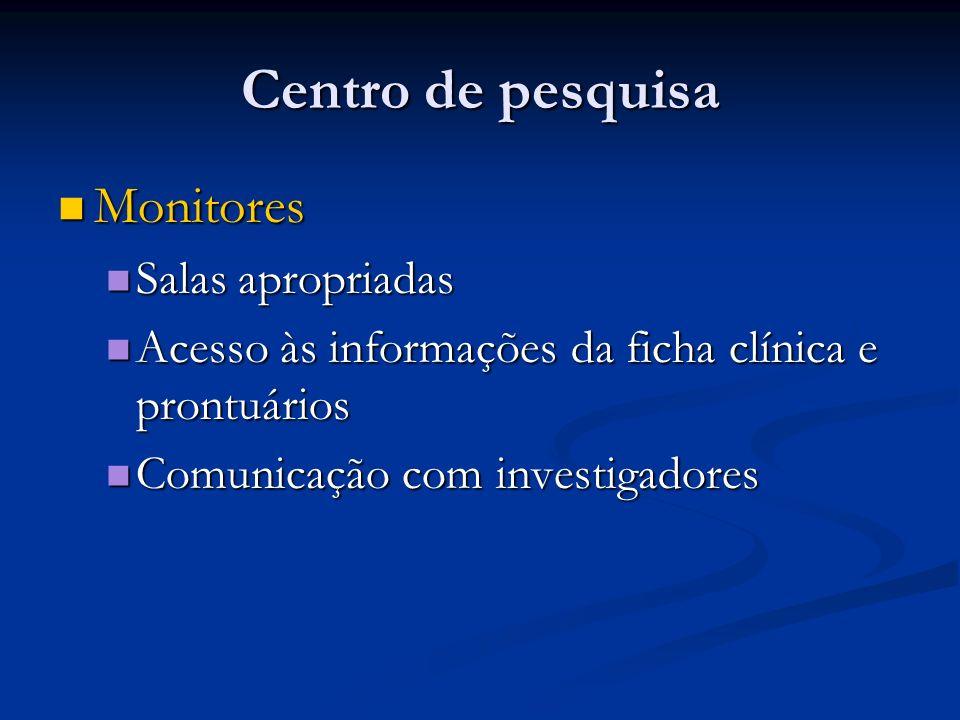 Centro de pesquisa Monitores Monitores Salas apropriadas Salas apropriadas Acesso às informações da ficha clínica e prontuários Acesso às informações
