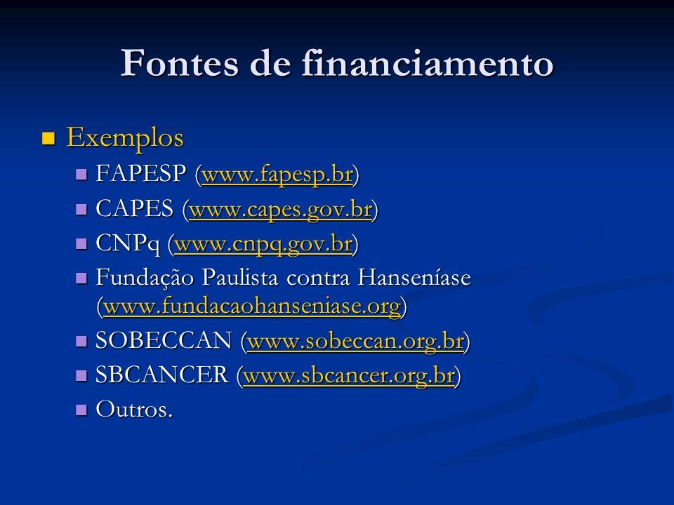 Fontes de financiamento Exemplos Exemplos FAPESP (www.fapesp.br) FAPESP (www.fapesp.br)www.fapesp.br CAPES (www.capes.gov.br) CAPES (www.capes.gov.br)