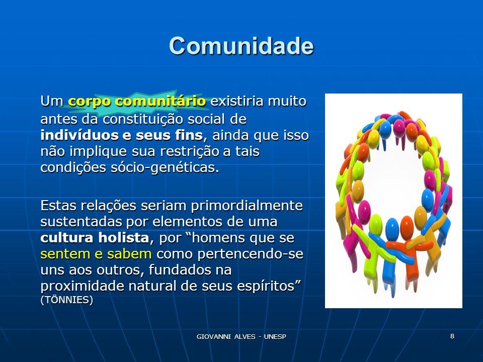 GIOVANNI ALVES - UNESP 9 Comunidade As relações comunitárias prescindiriam, pelo menos a priori, da necessidade de igualdade e liberdade das vontades.