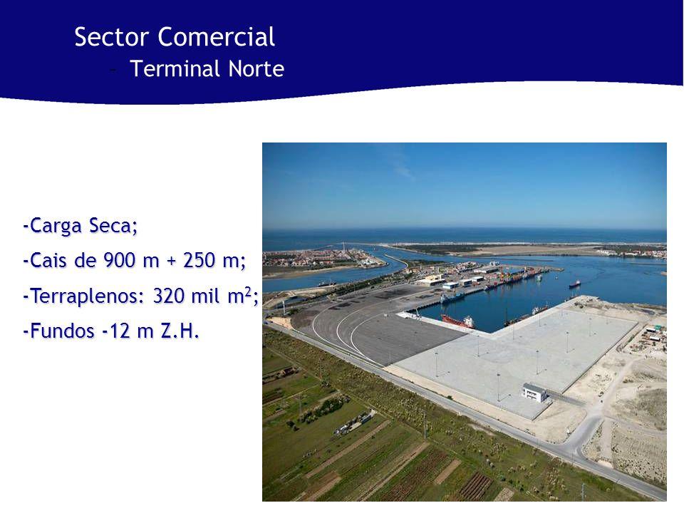 Sector Comercial –Terminal Norte -Carga Seca; -Cais de 900 m + 250 m; -Terraplenos: 320 mil m 2 ; -Fundos -12 m Z.H.