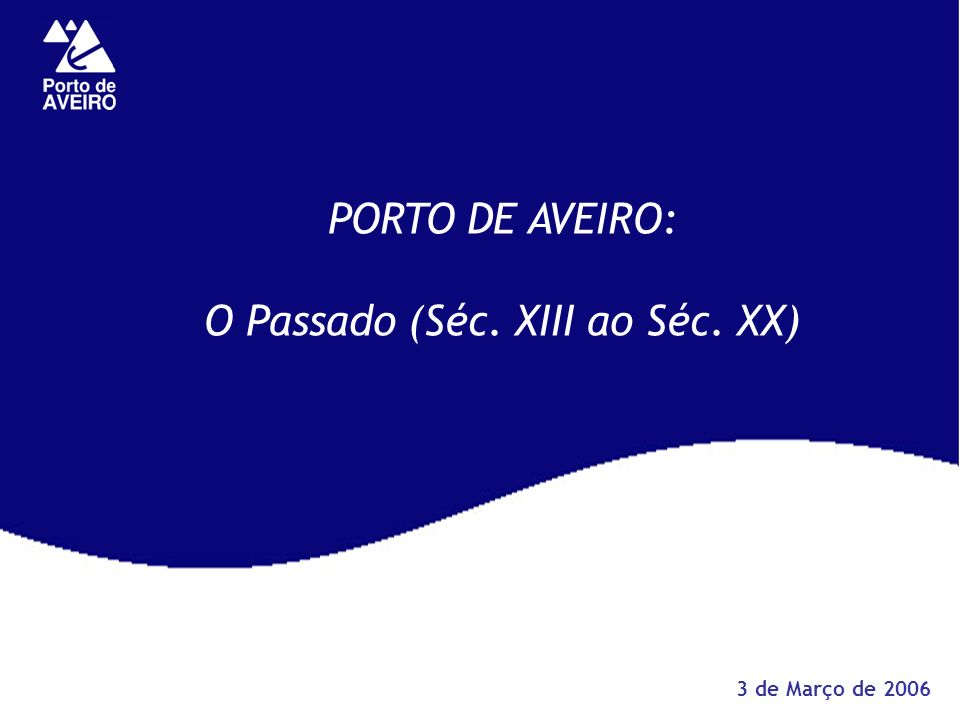 PORTO DE AVEIRO: O Passado (Séc. XIII ao Séc. XX) 3 de Março de 2006