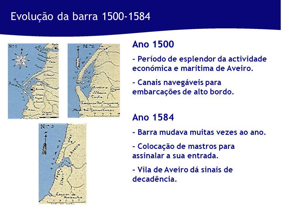 Evolução da barra 1500-1584 Ano 1500 - Período de esplendor da actividade económica e marítima de Aveiro.