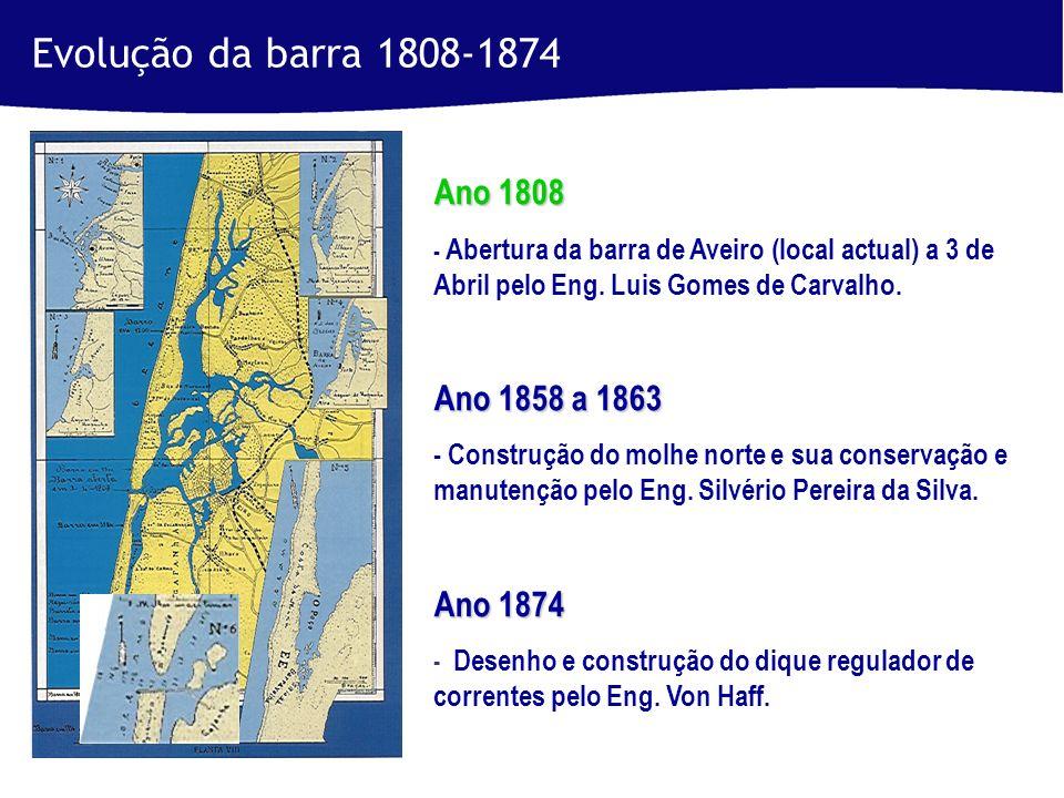 Ano 1808 - Abertura da barra de Aveiro (local actual) a 3 de Abril pelo Eng.