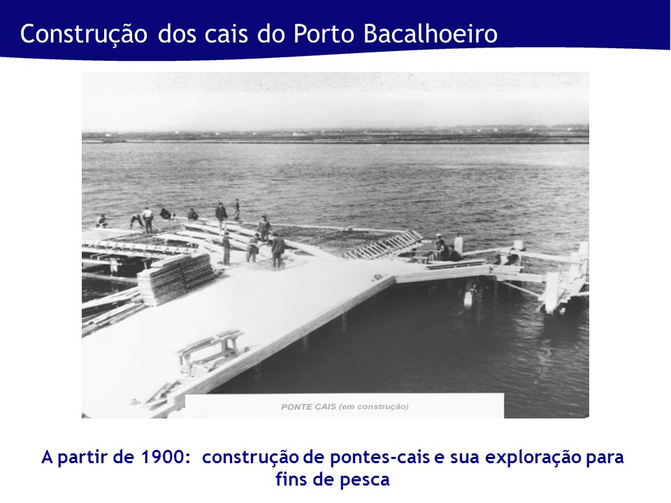 Construção dos cais do Porto Bacalhoeiro A partir de 1900: construção de pontes-cais e sua exploração para fins de pesca