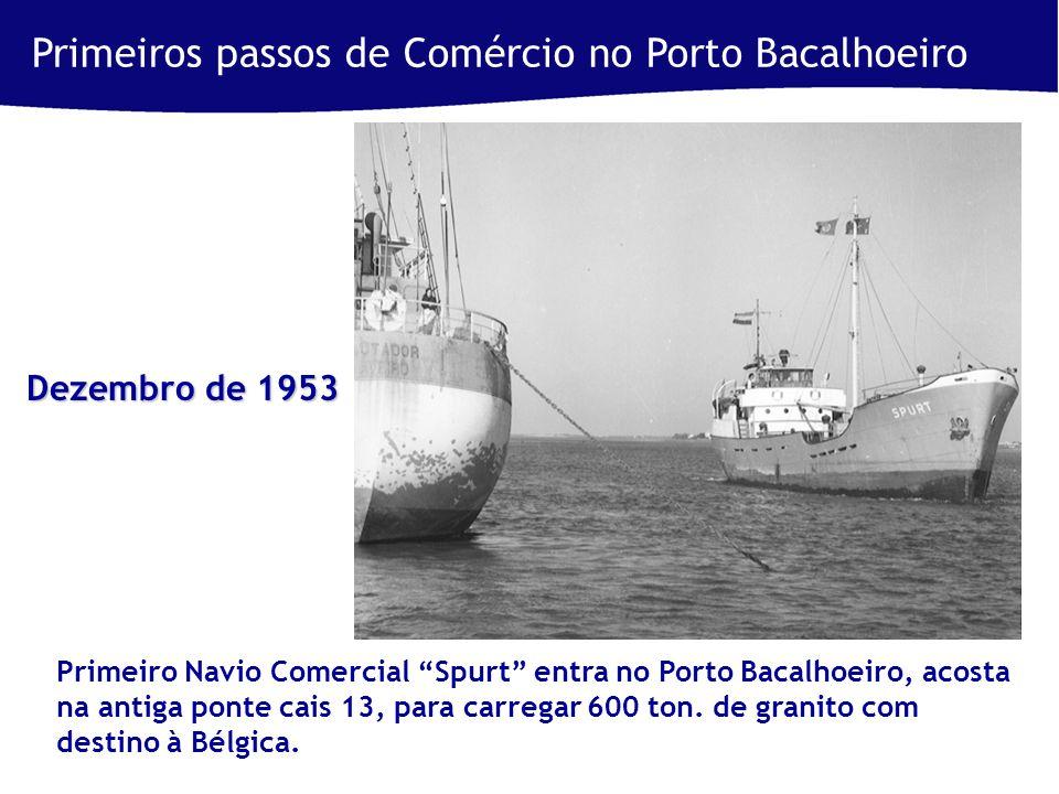 Primeiros passos de Comércio no Porto Bacalhoeiro Primeiro Navio Comercial Spurt entra no Porto Bacalhoeiro, acosta na antiga ponte cais 13, para carregar 600 ton.
