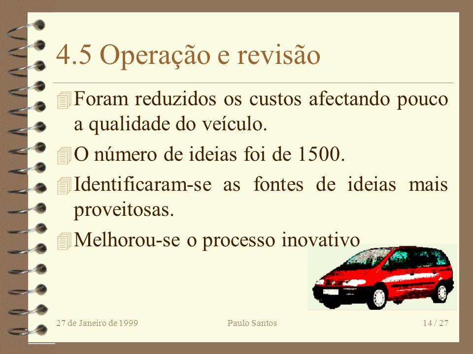 27 de Janeiro de 1999Paulo Santos13 / 27 4.4 Implementação Taxa de Sobrevivência - Pesquisa 30% - Ford - VW 24% - Fornecedor 17% - Anál. Valor 12% - B