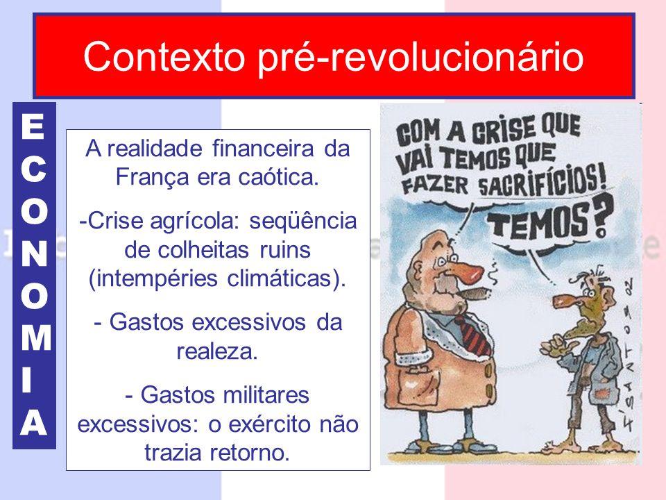 Contexto pré-revolucionário ECONOMIAECONOMIA A realidade financeira da França era caótica. -Crise agrícola: seqüência de colheitas ruins (intempéries