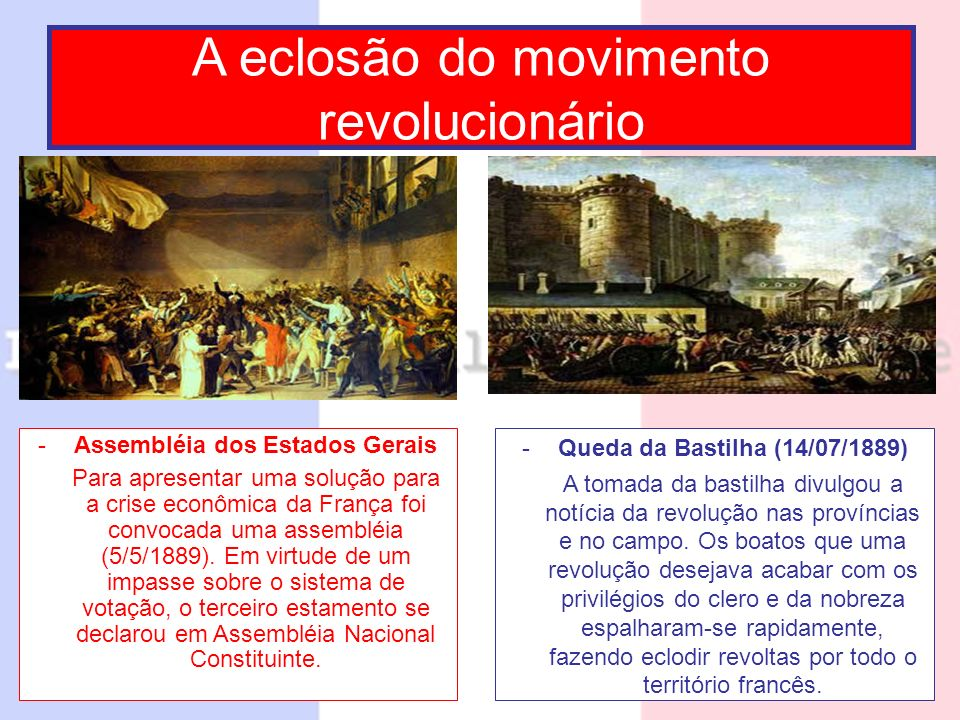 -Assembléia dos Estados Gerais Para apresentar uma solução para a crise econômica da França foi convocada uma assembléia (5/5/1889). Em virtude de um