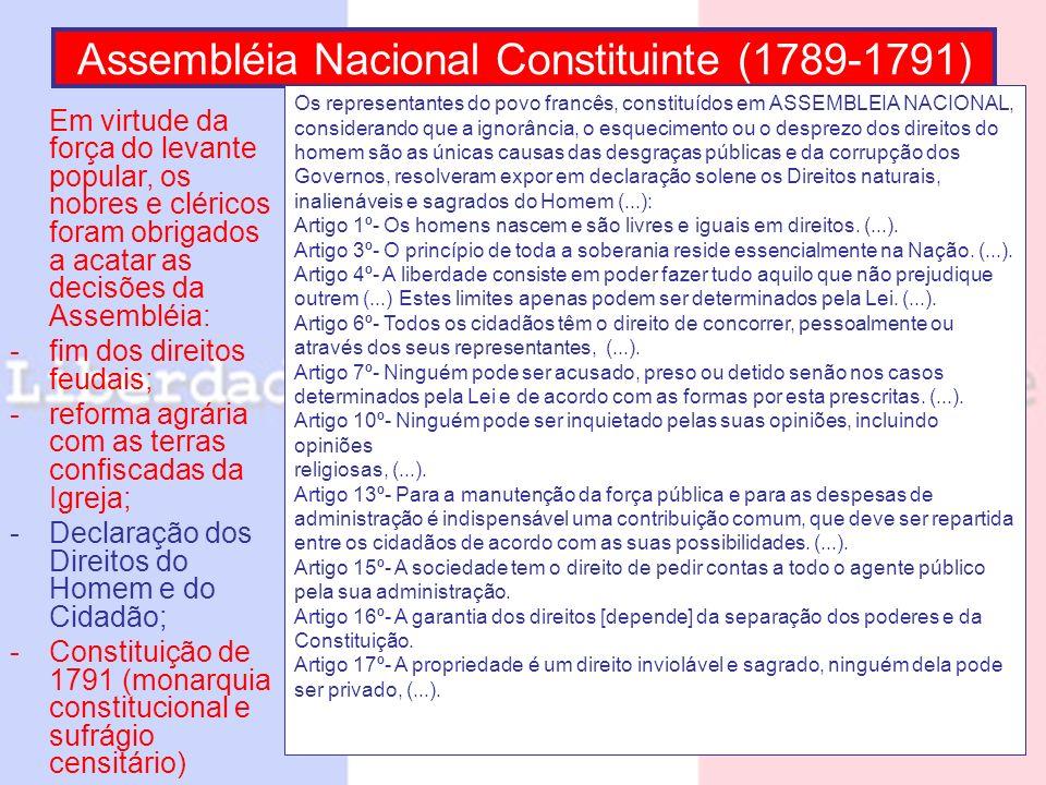 Assembléia Nacional Constituinte (1789-1791) Em virtude da força do levante popular, os nobres e cléricos foram obrigados a acatar as decisões da Asse
