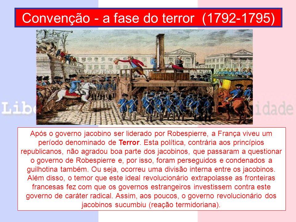 Diretório (1795-1799) Aproveitando-se do apoio estrangeiro e da cisão dos jacobinos, a classe burguesa retoma o controle do Estado e institui um governo de cinco diretores (todos burgueses).