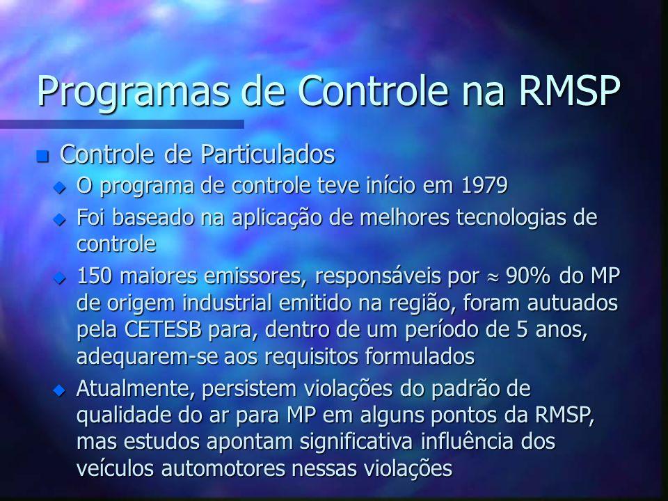 Programas de Controle na RMSP n Controle de Particulados u O programa de controle teve início em 1979 u Foi baseado na aplicação de melhores tecnologi