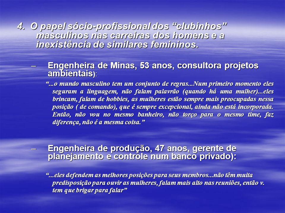 4. O papel sócio-profissional dos clubinhos masculinos nas carreiras dos homens e a inexistência de similares femininos. –Engenheira de Minas, 53 anos