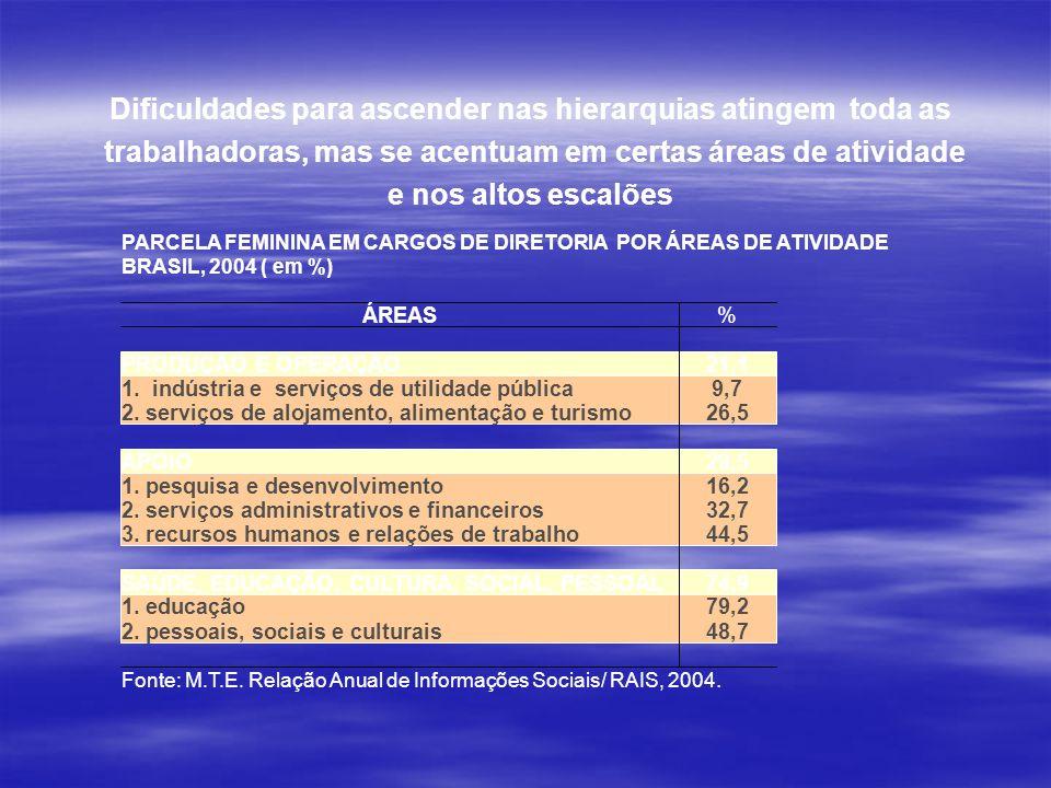 Dificuldades para ascender nas hierarquias atingem toda as trabalhadoras, mas se acentuam em certas áreas de atividade e nos altos escalões PARCELA FE