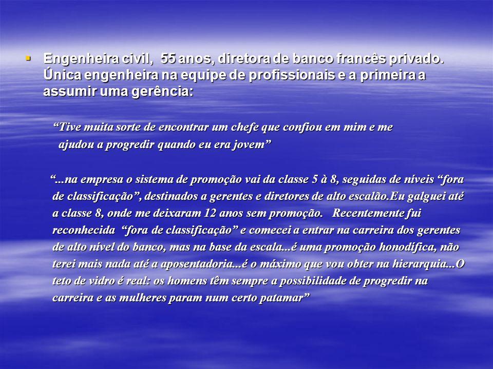 Engenheira civil, 55 anos, diretora de banco francês privado. Única engenheira na equipe de profissionais e a primeira a assumir uma gerência: Engenhe