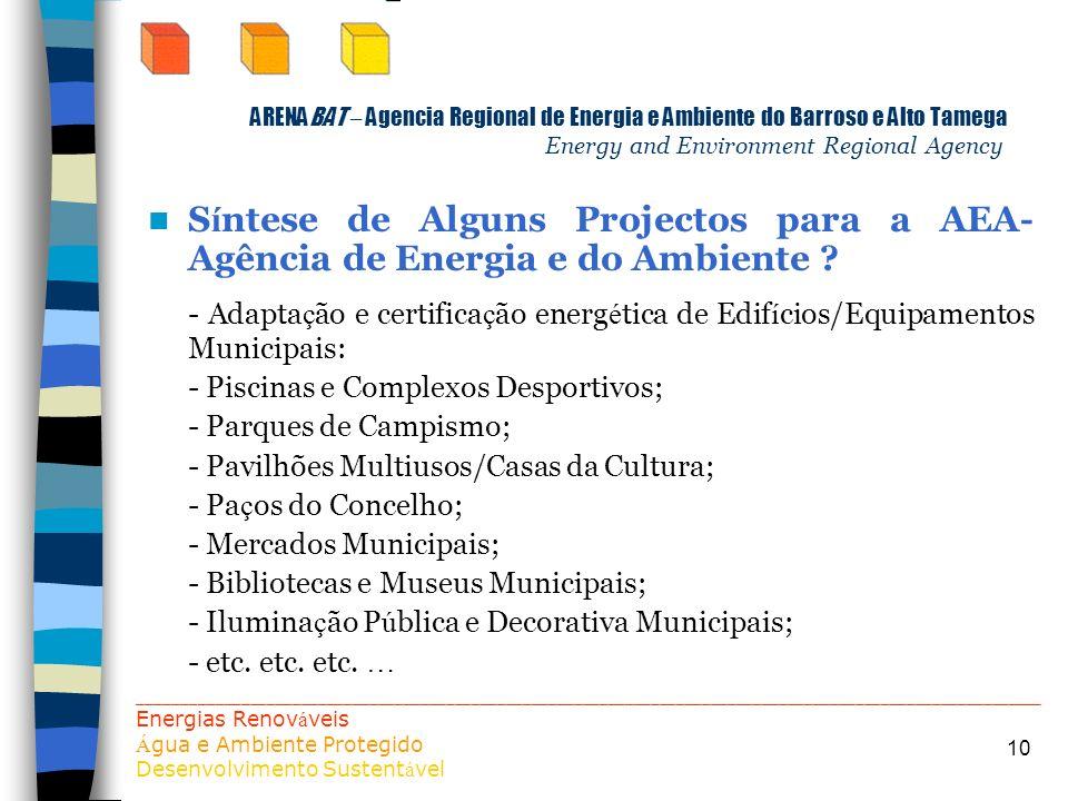10 ARENABAT – Agencia Regional de Energia e Ambiente do Barroso e Alto Tamega Energy and Environment Regional Agency S í ntese de Alguns Projectos par