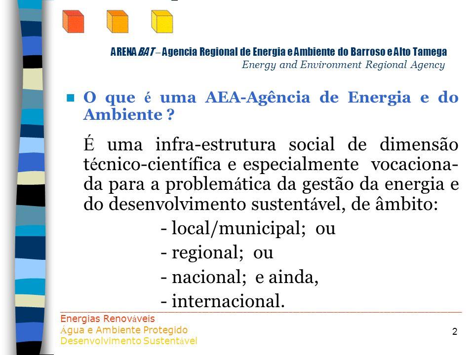 2 ARENABAT – Agencia Regional de Energia e Ambiente do Barroso e Alto Tamega Energy and Environment Regional Agency O que é uma AEA-Agência de Energia