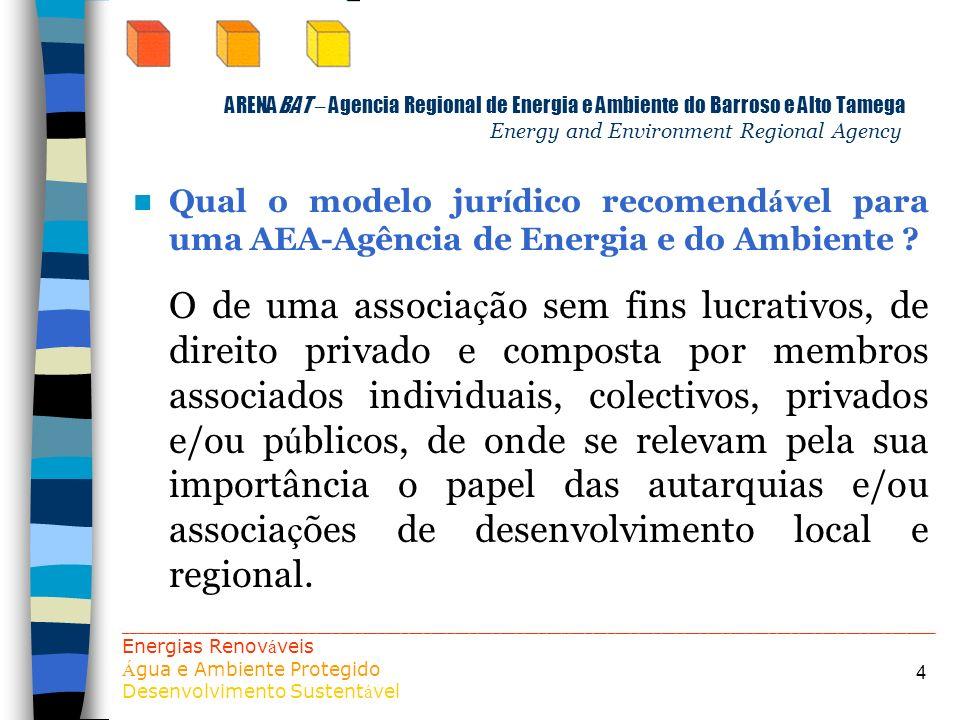 4 ARENABAT – Agencia Regional de Energia e Ambiente do Barroso e Alto Tamega Energy and Environment Regional Agency Qual o modelo jur í dico recomend