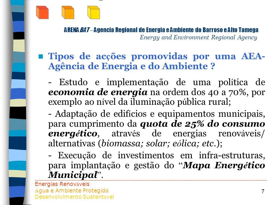 7 ARENABAT – Agencia Regional de Energia e Ambiente do Barroso e Alto Tamega Energy and Environment Regional Agency Tipos de ac ç ões promovidas por u