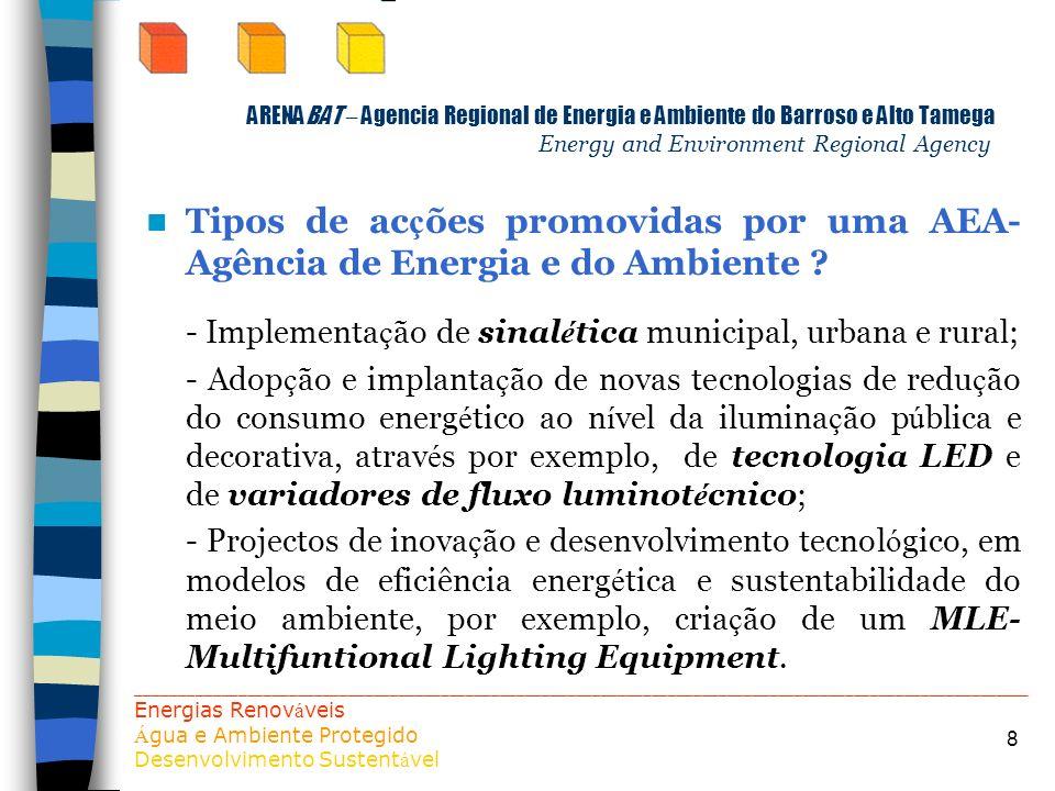 8 ARENABAT – Agencia Regional de Energia e Ambiente do Barroso e Alto Tamega Energy and Environment Regional Agency Tipos de ac ç ões promovidas por u