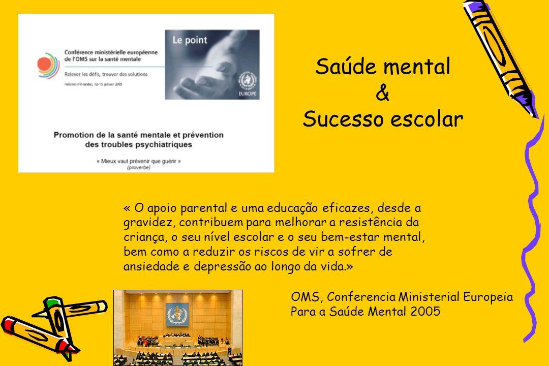 OMS, Conferencia Ministerial Europeia Para a Saúde Mental 2005 « O apoio parental e uma educação eficazes, desde a gravidez, contribuem para melhorar