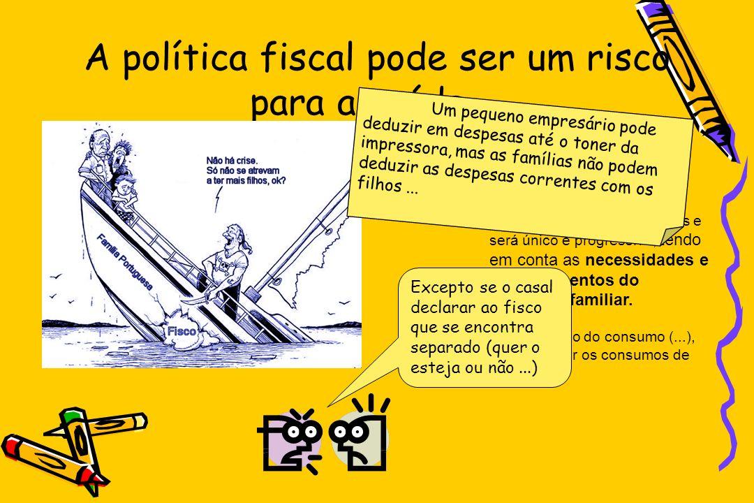A política fiscal pode ser um risco para a saúde... Constituição da República Portuguesa Art. 104º Impostos 1 O imposto sobre o rendimento pessoal vis