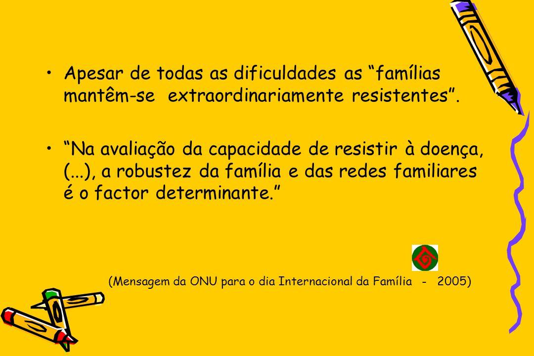 Propostas da ONU para 2005 O objectivo global da política de família é –Promover, proteger e suportar a integridade e a funcionalidade das famílias.