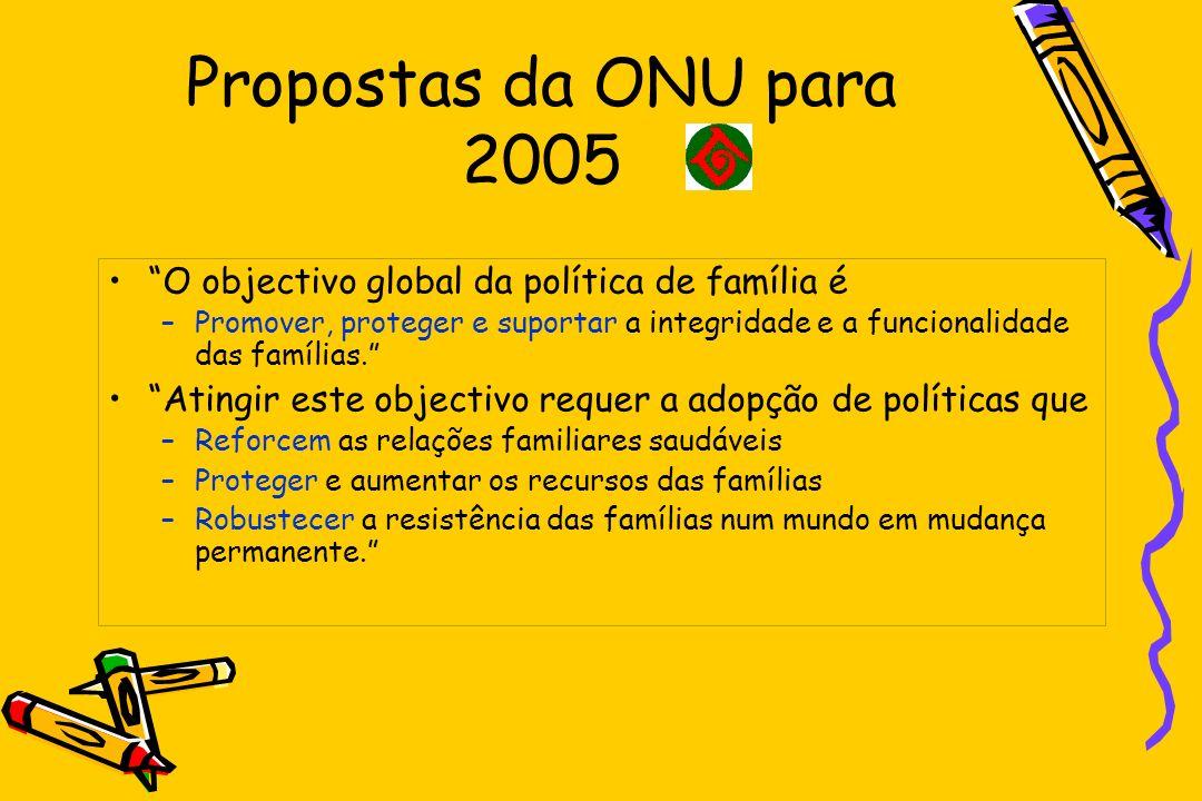 Propostas da ONU para 2005 O objectivo global da política de família é –Promover, proteger e suportar a integridade e a funcionalidade das famílias. A
