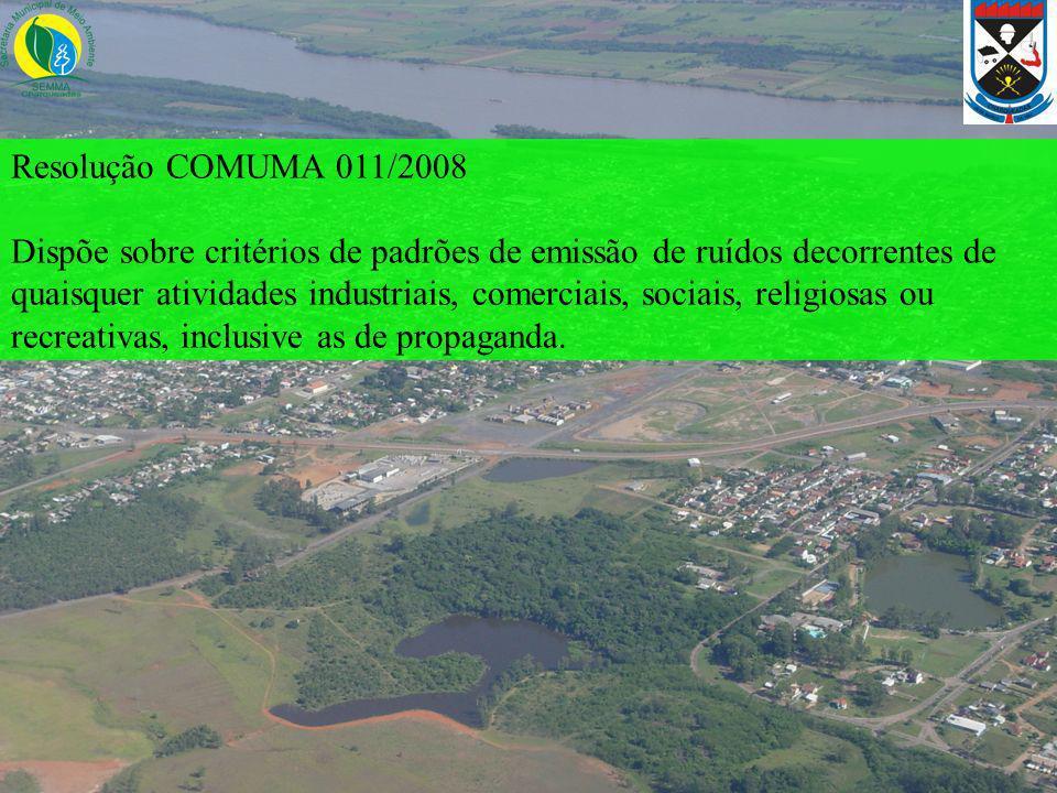Resolução COMUMA 011/2008 Dispõe sobre critérios de padrões de emissão de ruídos decorrentes de quaisquer atividades industriais, comerciais, sociais,