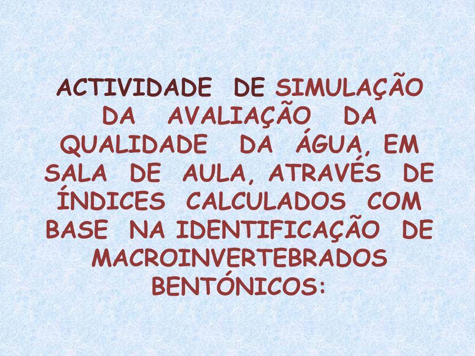 ACTIVIDADE DE SIMULAÇÃO DA AVALIAÇÃO DA QUALIDADE DA ÁGUA, EM SALA DE AULA, ATRAVÉS DE ÍNDICES CALCULADOS COM BASE NA IDENTIFICAÇÃO DE MACROINVERTEBRA