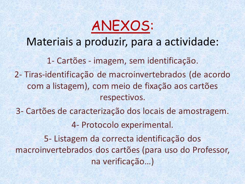 ANEXOS: Materiais a produzir, para a actividade: 1- Cartões - imagem, sem identificação. 2- Tiras-identificação de macroinvertebrados (de acordo com a