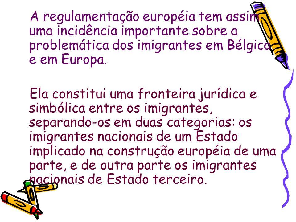 A regulamentação européia tem assim uma incidência importante sobre a problemática dos imigrantes em Bélgica e em Europa. Ela constitui uma fronteira