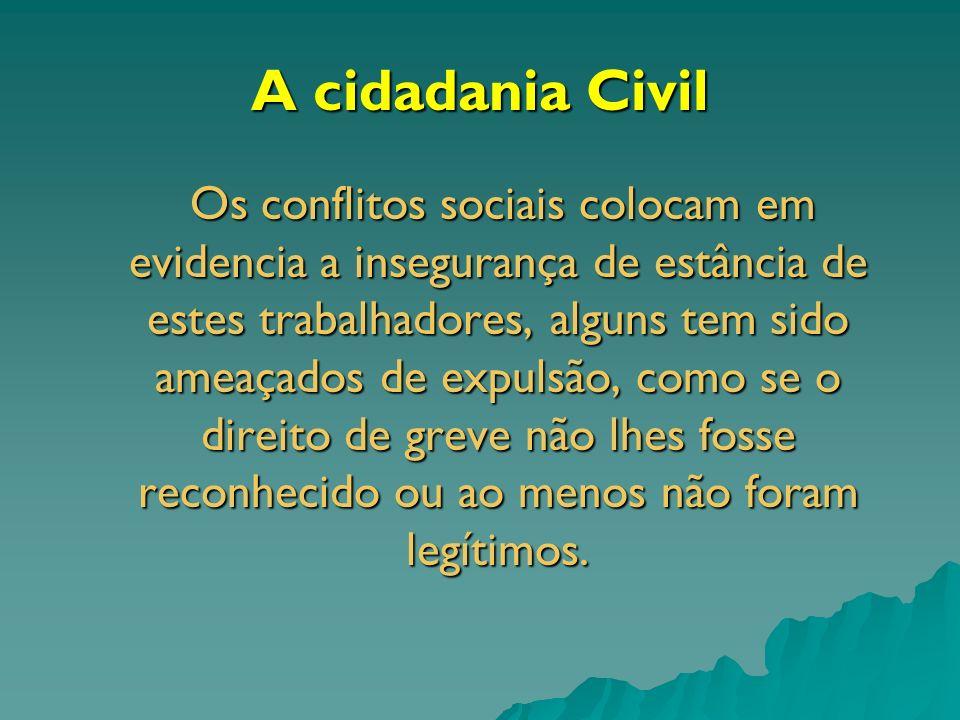 A cidadania Civil Os conflitos sociais colocam em evidencia a insegurança de estância de estes trabalhadores, alguns tem sido ameaçados de expulsão, c