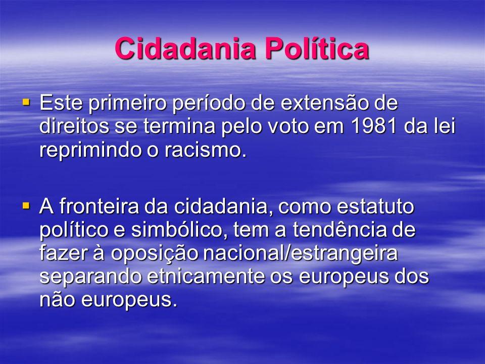 Cidadania Política Este primeiro período de extensão de direitos se termina pelo voto em 1981 da lei reprimindo o racismo. Este primeiro período de ex