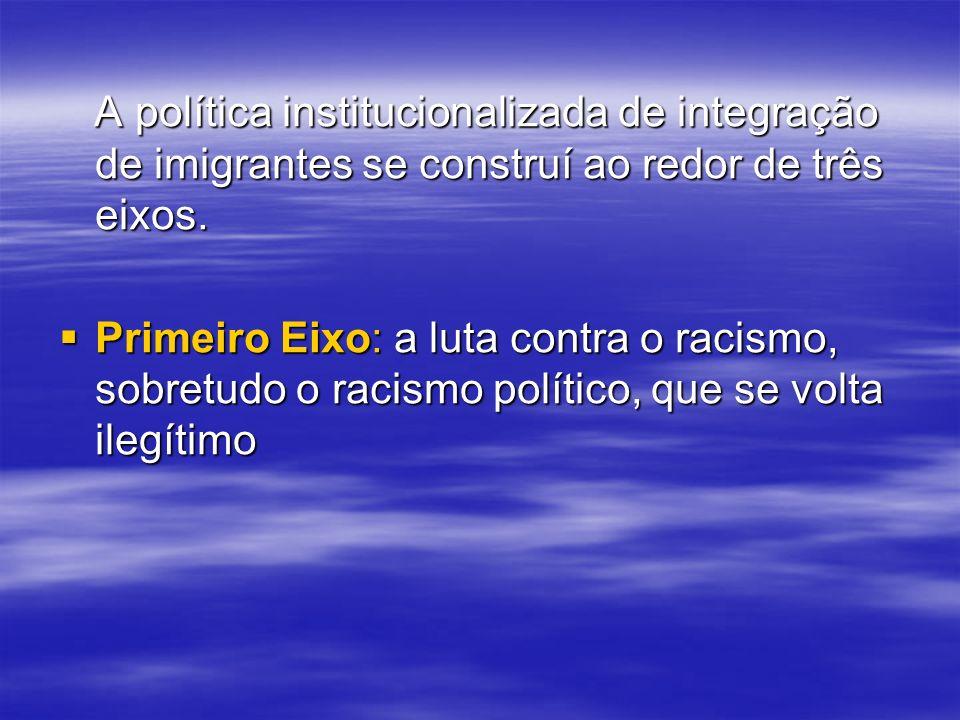 A política institucionalizada de integração de imigrantes se construí ao redor de três eixos. A política institucionalizada de integração de imigrante