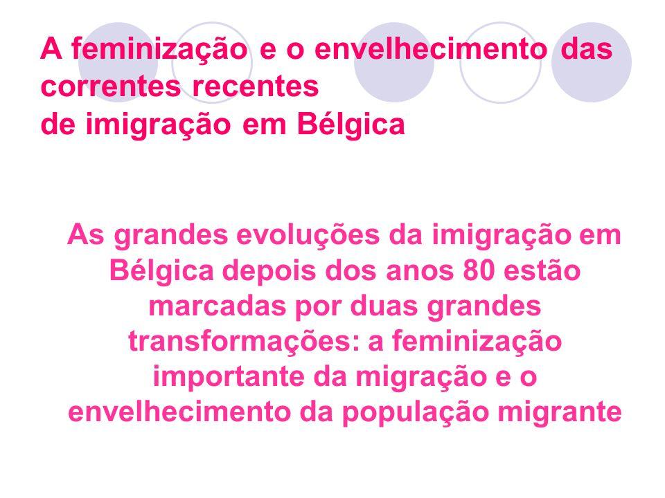 A feminização e o envelhecimento das correntes recentes de imigração em Bélgica As grandes evoluções da imigração em Bélgica depois dos anos 80 estão
