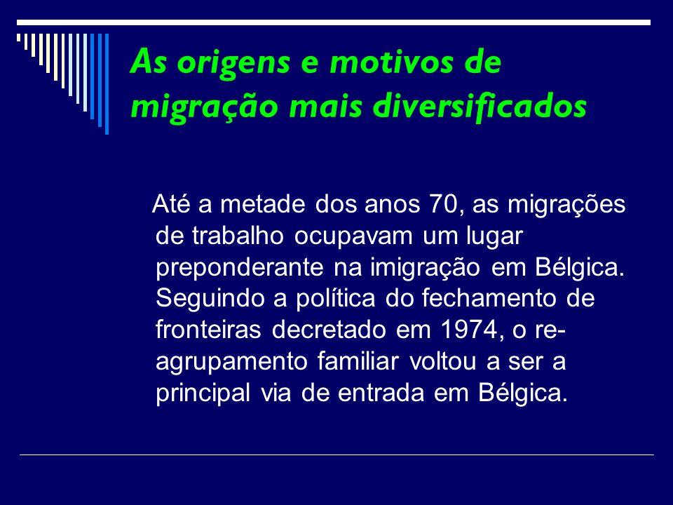 As origens e motivos de migração mais diversificados Até a metade dos anos 70, as migrações de trabalho ocupavam um lugar preponderante na imigração e