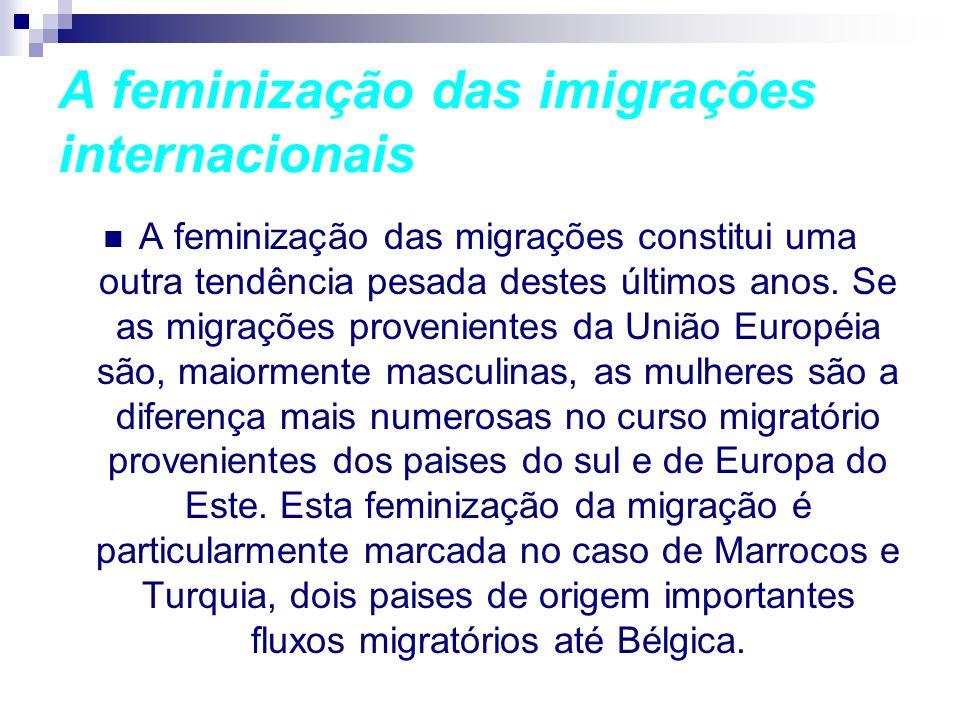 A feminização das imigrações internacionais A feminização das migrações constitui uma outra tendência pesada destes últimos anos. Se as migrações prov
