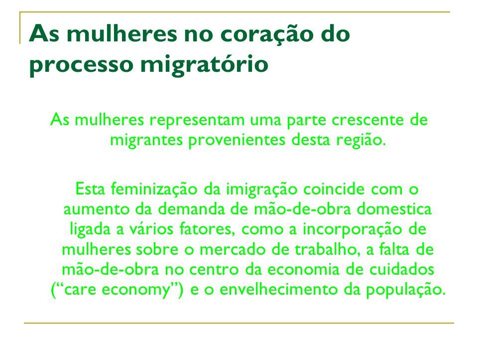 As mulheres no coração do processo migratório As mulheres representam uma parte crescente de migrantes provenientes desta região. Esta feminização da