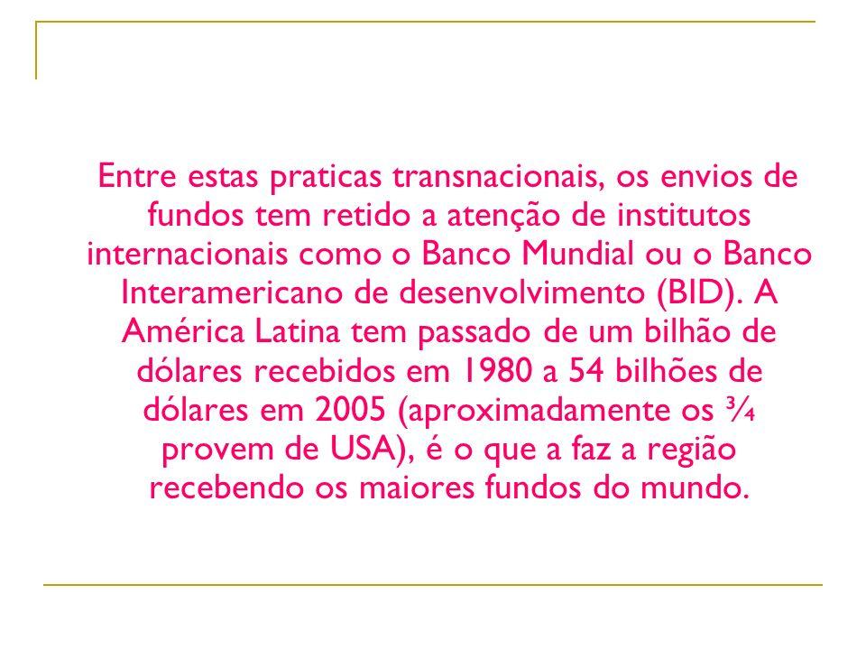 Entre estas praticas transnacionais, os envios de fundos tem retido a atenção de institutos internacionais como o Banco Mundial ou o Banco Interameric