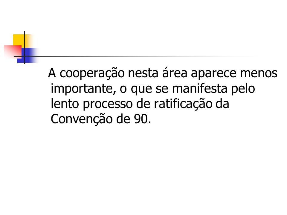 A cooperação nesta área aparece menos importante, o que se manifesta pelo lento processo de ratificação da Convenção de 90.