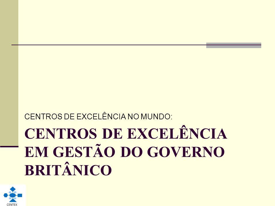 CENTROS DE EXCELÊNCIA EM GESTÃO DO GOVERNO BRITÂNICO CENTROS DE EXCELÊNCIA NO MUNDO: