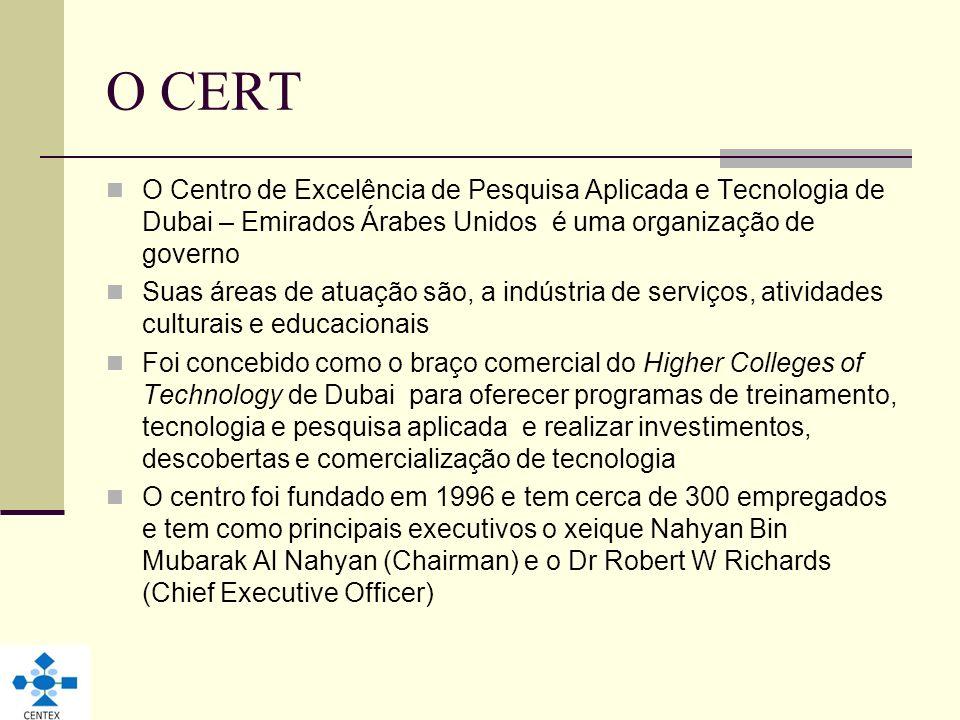 O CERT O Centro de Excelência de Pesquisa Aplicada e Tecnologia de Dubai – Emirados Árabes Unidos é uma organização de governo Suas áreas de atuação s
