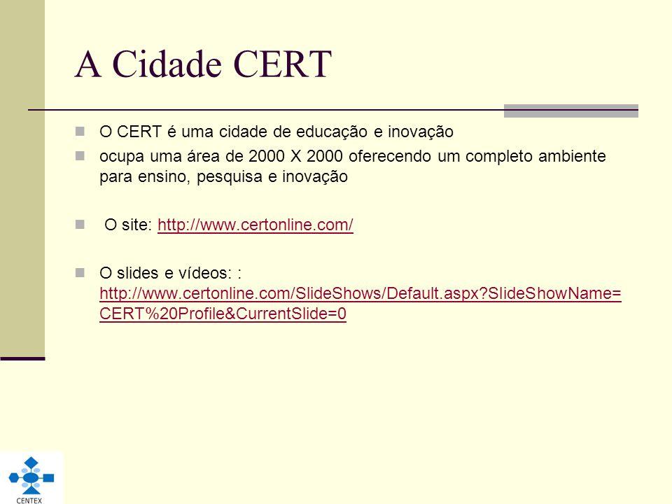 A Cidade CERT O CERT é uma cidade de educação e inovação ocupa uma área de 2000 X 2000 oferecendo um completo ambiente para ensino, pesquisa e inovaçã
