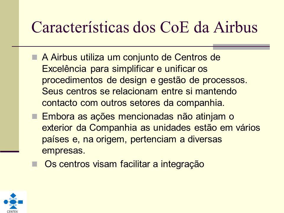 Características dos CoE da Airbus A Airbus utiliza um conjunto de Centros de Excelência para simplificar e unificar os procedimentos de design e gestã