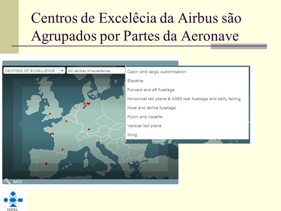 Centros de Excelêcia da Airbus são Agrupados por Partes da Aeronave