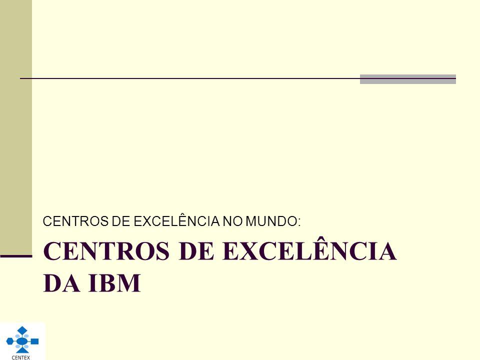 CENTROS DE EXCELÊNCIA DA IBM CENTROS DE EXCELÊNCIA NO MUNDO: