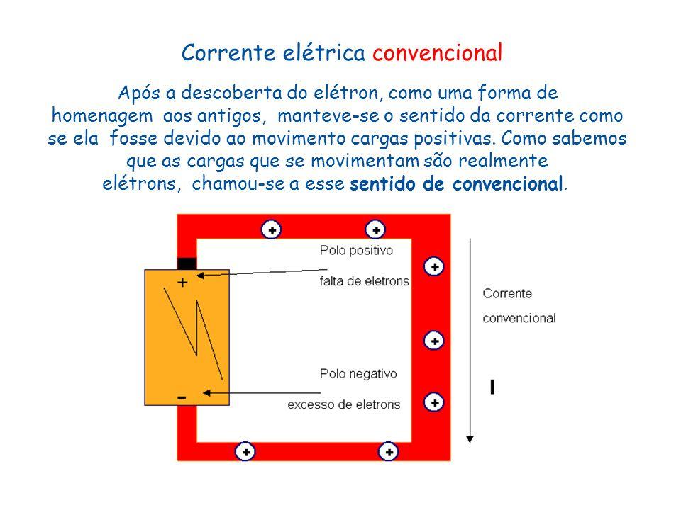Após a descoberta do elétron, como uma forma de homenagem aos antigos, manteve-se o sentido da corrente como se ela fosse devido ao movimento cargas p
