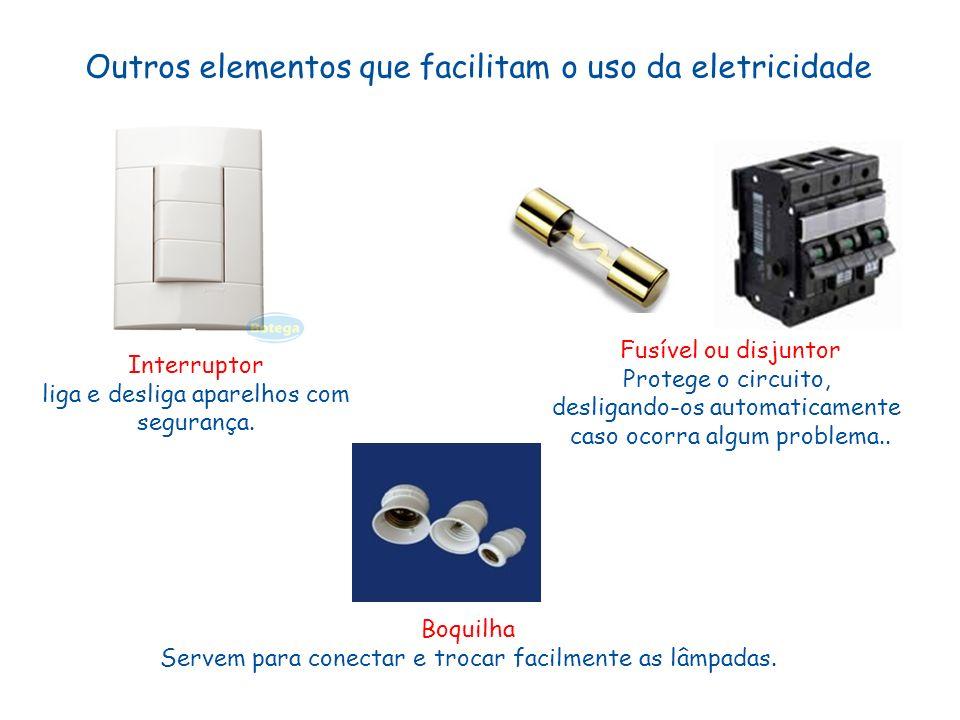 Outros elementos que facilitam o uso da eletricidade Interruptor liga e desliga aparelhos com segurança. Fusível ou disjuntor Protege o circuito, desl